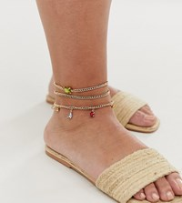 Asos Design Curve Pack Of 2 Anklets With Colorful Jewel Drops In Gold Tone Gold