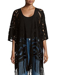 Cejon Open Front Fringed Cape Black