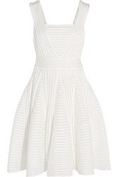 Maje Pleated Ribbed Knit Dress White