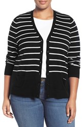 Sejour Plus Size Women's V Neck Pocket Cardigan Black White Stripe