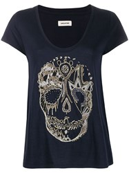Zadig And Voltaire Embroidered Skull T Shirt 60