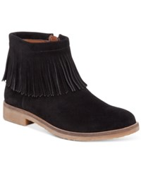 Lucky Brand Women's Galley Fringe Booties Women's Shoes Black