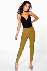 Boohoo Highwaist Ribbed Leggings Olive