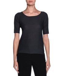 Giorgio Armani Scoop Neck Ottoman Knit Tee Dark Gray Granite
