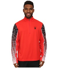Spyder Webstrong Dry W.E.B. T Neck Top Volcano Black White Men's Long Sleeve Pullover Red