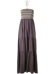 Harare Patterned Maxi Dress Women Cotton S Grey