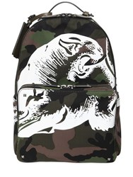 Valentino Panther Printed Camo Canvas Backpack