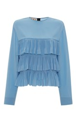 Marni Long Sleeve Tiered Top Blue