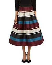 Ted Baker Majida Striped Midi Skirt Black