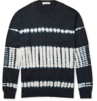 Nonnative Guardian Tie Dyed Cotton Sweater Blue
