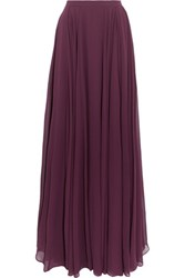Halston Heritage Pleated Georgette Maxi Skirt Grape