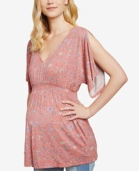 Jessica Simpson Maternity Flutter Sleeve Babydoll Blouse Coral Floral