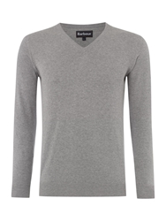 Barbour V Neck Pima Cotton Jumper Grey Marl