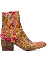 Fauzian Jeunesse' Jeunesse Embroidered Ankle Boots Brown