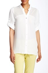 Insight Mesh Insert Blouse White