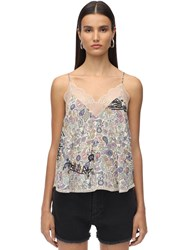 Zadig And Voltaire Lace Stretch Muslin Camisole Top Multicolor