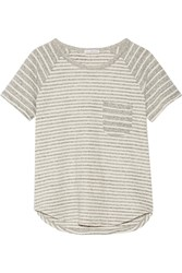 James Perse Striped Cotton Jersey T Shirt Gray