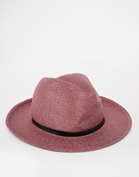 Catarzi Wide Brim Fedora Hat Purple
