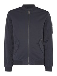 Label Lab Men's Fagan Baseball Neck Bomber Jacket Navy