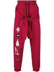 Ex Infinitas Surf Sticker Print Track Pants Cotton M Red