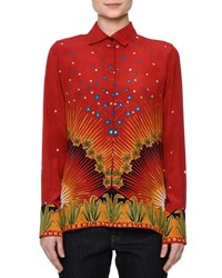 Red Valentino Long Sleeve Mixed Print Shirt Red Multi Women's