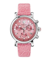 Versace 38Mm Day Glam Chronograph Watch W Leather Strap Pink