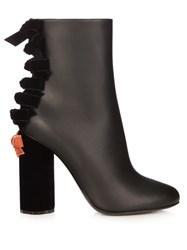 Marco De Vincenzo Velvet And Leather Ankle Boots Black