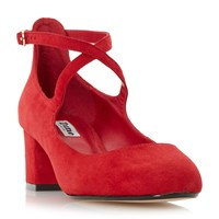Dune Ani Cross Strap Block Heel Courts Red