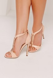 Missguided Gold Trim T Bar Heeled Sandals Nude