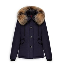 Moncler Malus Fox Fur Trim Down Parka Navy