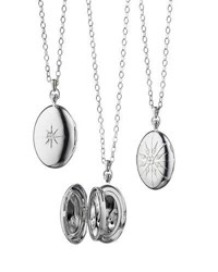 Monica Rich Kosann Sterling Silver Starburst Locket Necklace With White Sapphires