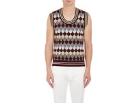 Gucci Men's Wave Pattern Wool Blend Sweater Vest Burgundy