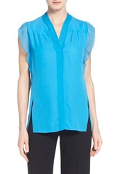 Women's Elie Tahari 'Nancy' Silk Cap Sleeve Blouse Voyage
