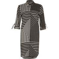 River Island Womens Black And White Striped Shirt Dress