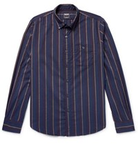Todd Snyder Button Down Collar Striped Cotton Flannel Shirt Navy
