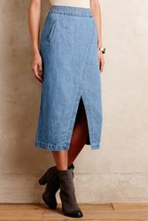 Maeve Denim Surplice Midi Skirt Light Denim