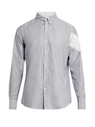Moncler Gamme Bleu Button Cuff Cotton Shirt Grey White