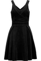 Maje Pleated Velvet Dress Black