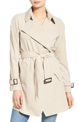 Kensie Women's Belted Drapey Trench Coat Sand