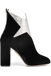 Charlotte Olympia Galactica Metallic Leather And Velvet Ankle Boots Black