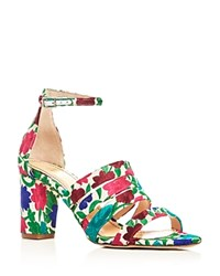 Jerome C. Rousseau Abelline Floral Embroidered Block Heel Sandals White Multi