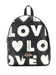 Love Moschino Quilted Effect Logo Print Backpack Black