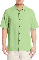Tommy Bahama Men's Big And Tall 'Rio Fronds' Short Sleeve Silk Sport Shirt Caicos Green