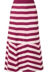 Gabriela Hearst Striped Wool And Cashmere Blend Midi Skirt Burgundy