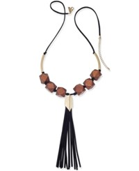 Inc International Concepts Gold Tone And Wood Long Tassel Necklace Only At Macy's Black