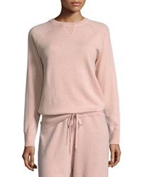 Theory Athletic Stripe Crewneck Cashmere Sweater Pink