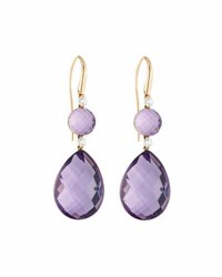 Roberto Coin 18K Rose Gold Amethyst And Diamond Double Drop Earrings