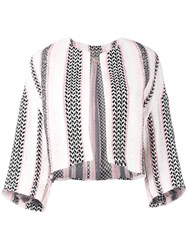 Giambattista Valli Woven Cropped Blazer Women Cotton Polyamide Viscose 38 Pink Purple