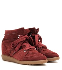Isabel Marant Etoile Bobby Concealed Wedge Suede Sneakers Red