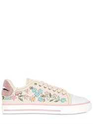 Red Valentino Floral Embellished Canvas Sneakers